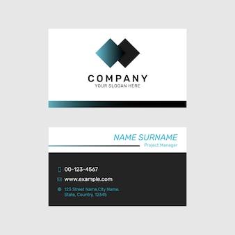 Editable business card template in white modern design set
