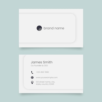 Editable business card template with double-side in white color.