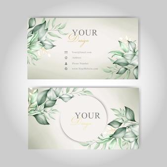 緑の花と水彩で編集可能な名刺テンプレート