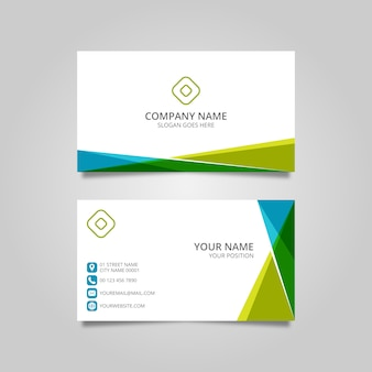 Editable business card with abstract shapes