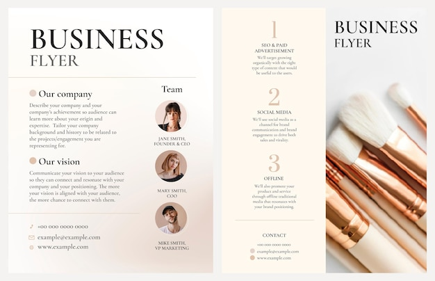 Editable business flyer template vector in feminine style design