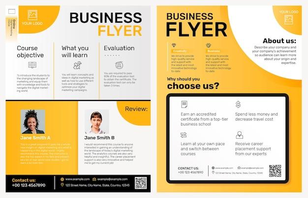 黄色のモダンなデザインの編集可能なビジネスチラシテンプレートベクトル