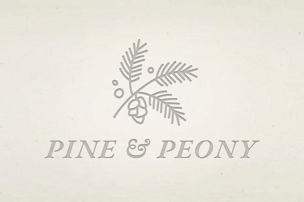 Editable business logo vector with pine and peony text