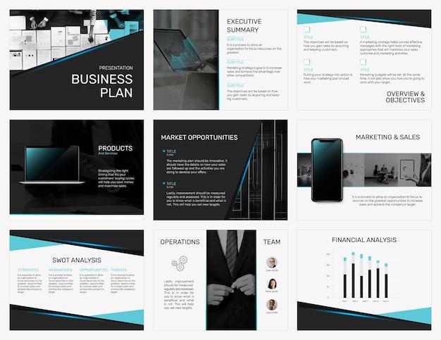 モダンなデザインセットの編集可能なビジネスプレゼンテーションテンプレート
