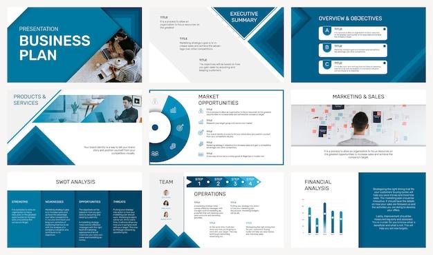 Редактируемый шаблон бизнес-презентации в наборе современного дизайна