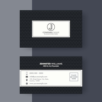 Editable business or visiting card in black and white color