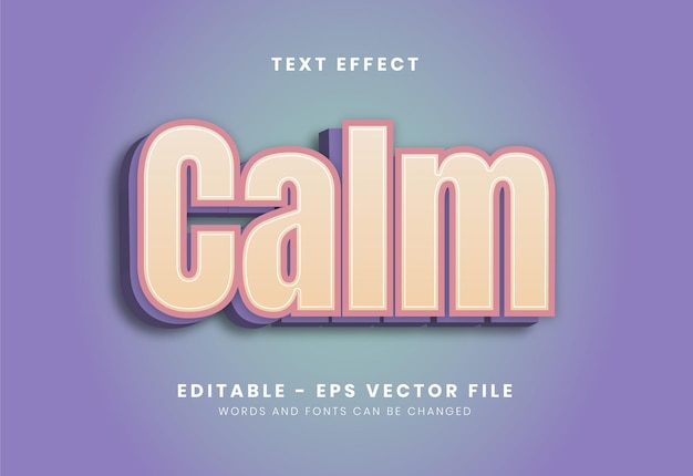 Editable calm text effect Premium Vector