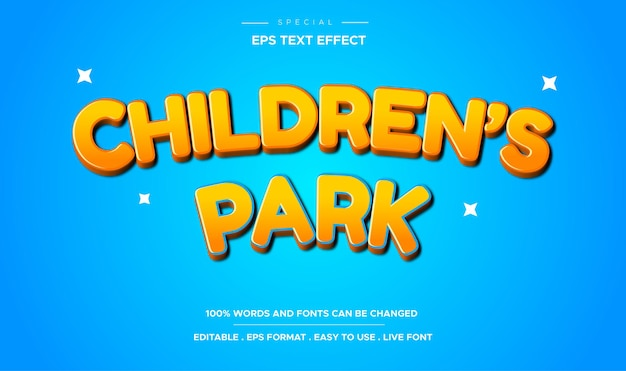Editable children's park cartoon text effect
