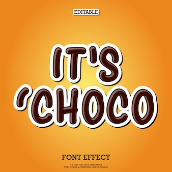 Editable chocolate product logo tittle font effect