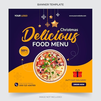 Editable christmas food menu banner social media post template for promotion