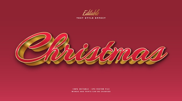 Editable christmas text in luxury red and gold style with 3d effect. editable text style effect
