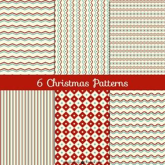 Editable christmas vintage patterns Free Vector