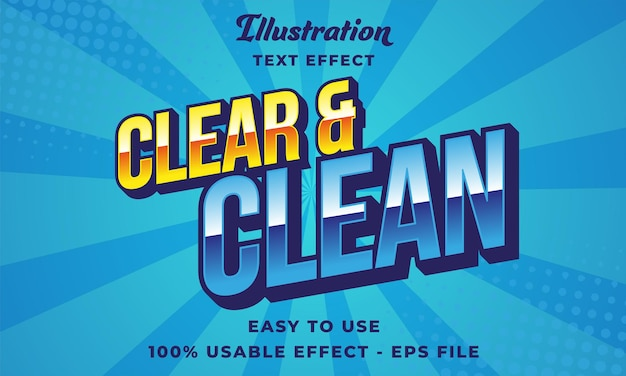 Editable clear and clean text effect vector modern style