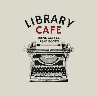 Editable coffee shop logo business corporate identity with text and retro typewriter