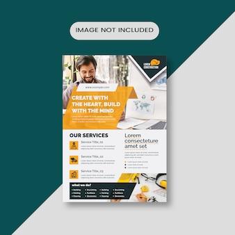 Editable  construction flyer layout
