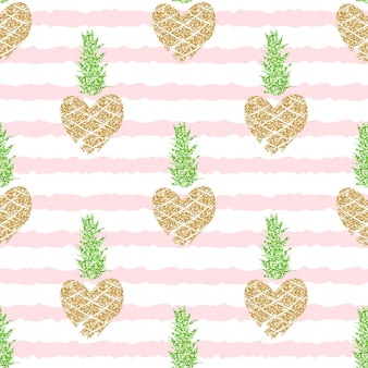 Editable and cropped seamless pattern with golden glitter pineapples on pink striped background for summer, romantic .