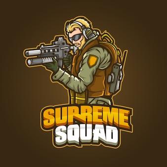 Editable and customizable sports mascot logo design, esports logo supreme squad