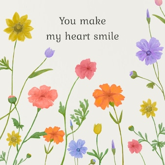 Editable cute quote template floral background