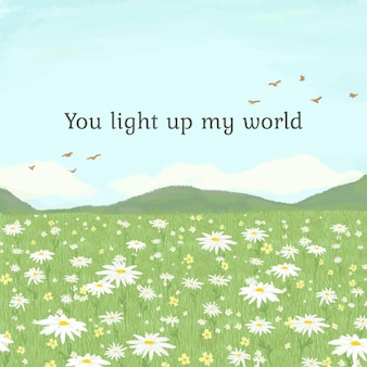 Editable cute quote template with you light up my world text