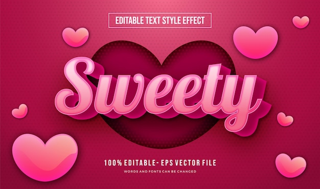 Editable cute text style with heart shape effect