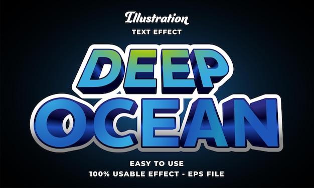 Editable deep ocean text effect vector modern style