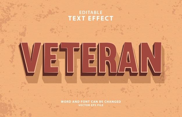 Редактируемый eps винтажный ветеран 3d текстовый эффект
