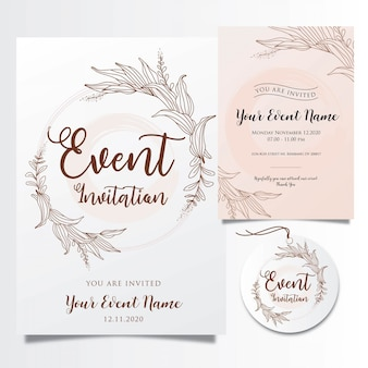 Editable event invitations template with elegant flower lines