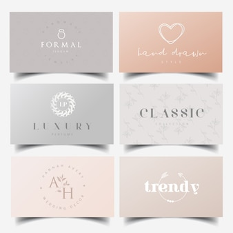 Editable feminine logo design and business card templates
