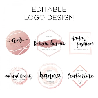 Editable feminine logo design template