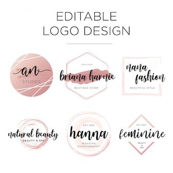 Editable feminine logo design template Premium Vector