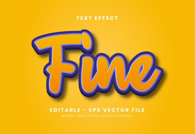 Editable fine text effect Premium Vector