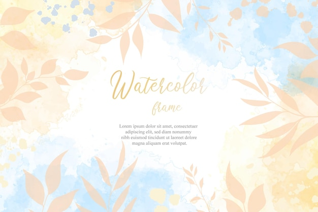 Editable flat floral and hand painted liquid watercolor background