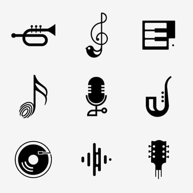 黒と白で設定された編集可能なフラット音楽アイコン