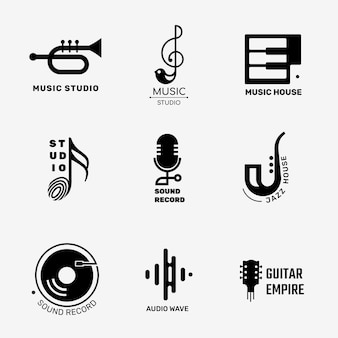 Design del logo vettoriale di musica piatta modificabile impostato in bianco e nero