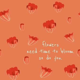 영감을 주는 인용문이 있는 소셜 미디어 게시물을 위한 편집 가능한 꽃 미적 템플릿