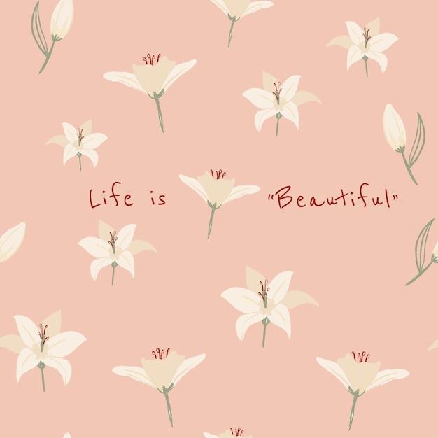 心に強く訴える引用を含むソーシャルメディア投稿用の編集可能な花の美的テンプレート