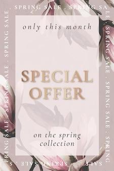 春の販売のための編集可能な花のテンプレートベクトル