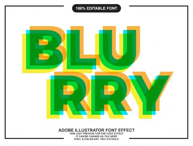 Editable focus overprint typography font effect