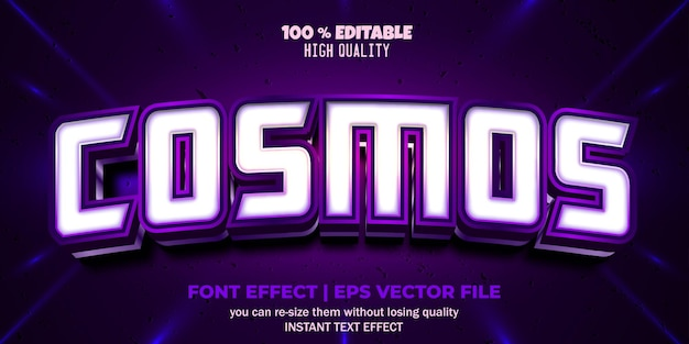 Editable font effect cosmos text style