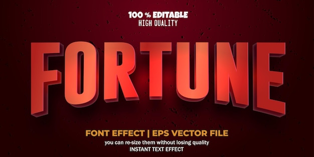 Editable font effect fortune text style