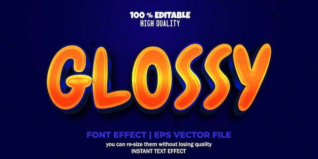 Editable font effect glossy text style