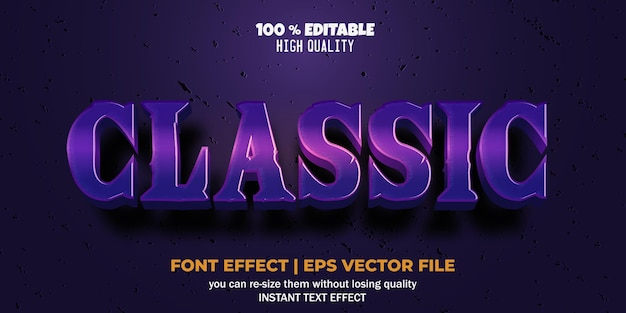 Editable font effect purple classic text style