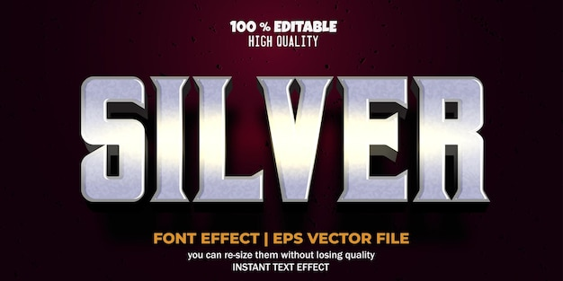 Editable font effect silver text style