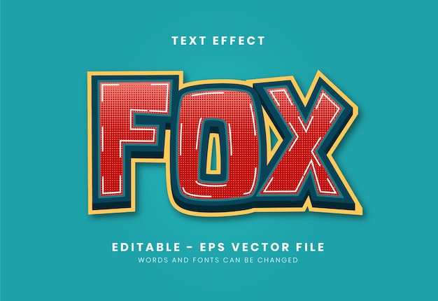 Editable fox text effect - hard style Premium Vector