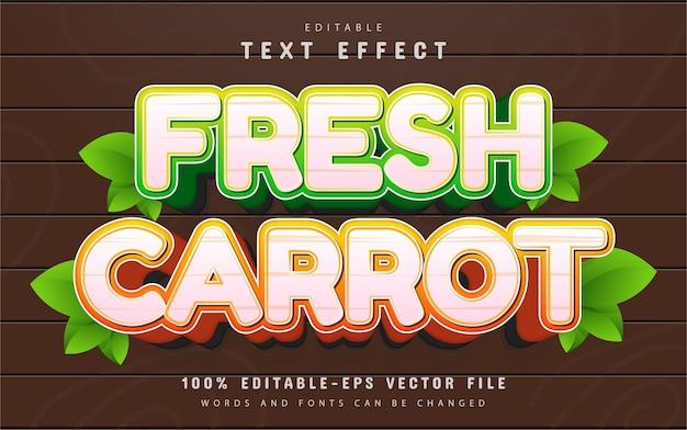 Editable fresh carrot cartoon style text effect