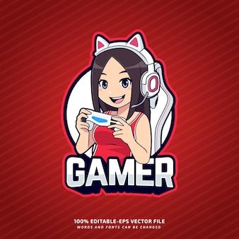 Редактируемый геймер талисман киберспорт логотип