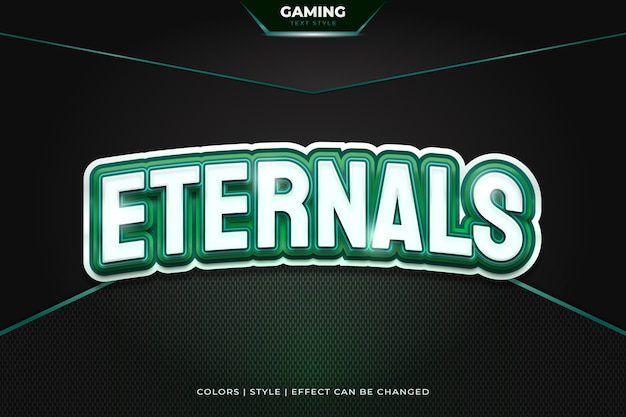 Editable gaming text style with white and green concept and curved effect for e-sport team name or identity