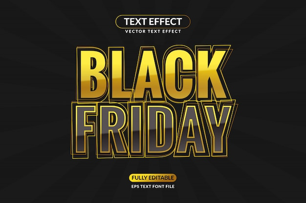 Editable gold black friday text effect