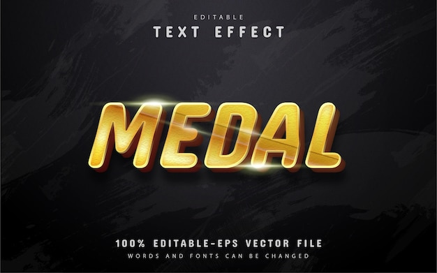 Editable gold medal text effect