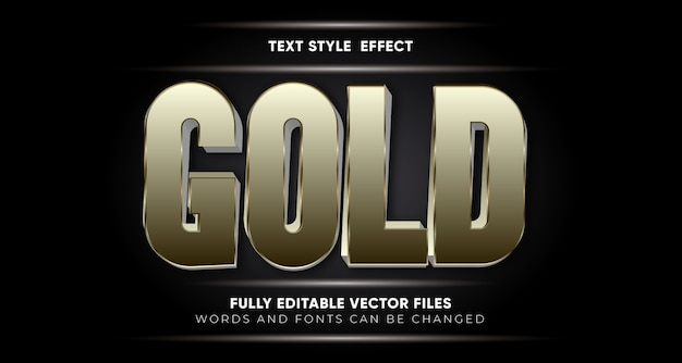 Редактируемый золотой эффект стиля текста